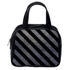Stripes3 Black Marble & Gray Leather (r) Classic Handbags (one Side)