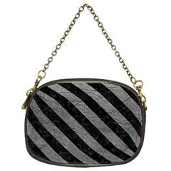 Stripes3 Black Marble & Gray Leather (r) Chain Purses (two Sides)