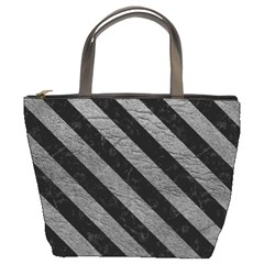 Stripes3 Black Marble & Gray Leather (r) Bucket Bags