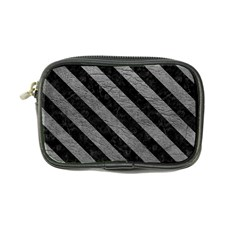 Stripes3 Black Marble & Gray Leather (r) Coin Purse