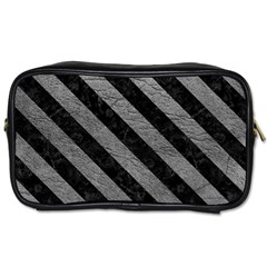 Stripes3 Black Marble & Gray Leather (r) Toiletries Bags 2 Side