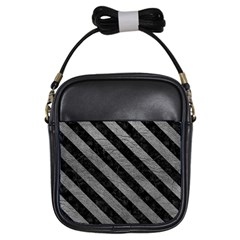 Stripes3 Black Marble & Gray Leather (r) Girls Sling Bags