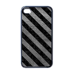 Stripes3 Black Marble & Gray Leather (r) Apple Iphone 4 Case (black)