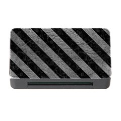 Stripes3 Black Marble & Gray Leather (r) Memory Card Reader With Cf