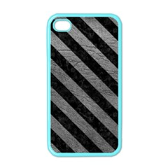 Stripes3 Black Marble & Gray Leather (r) Apple Iphone 4 Case (color)