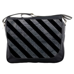 Stripes3 Black Marble & Gray Leather (r) Messenger Bags