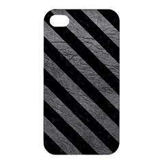 Stripes3 Black Marble & Gray Leather (r) Apple Iphone 4/4s Premium Hardshell Case