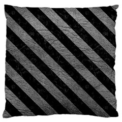 Stripes3 Black Marble & Gray Leather (r) Large Cushion Case (two Sides)