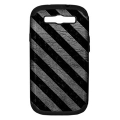 Stripes3 Black Marble & Gray Leather (r) Samsung Galaxy S Iii Hardshell Case (pc+silicone)