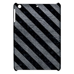 Stripes3 Black Marble & Gray Leather (r) Apple Ipad Mini Hardshell Case