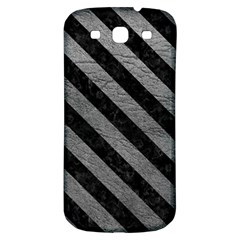 Stripes3 Black Marble & Gray Leather (r) Samsung Galaxy S3 S Iii Classic Hardshell Back Case