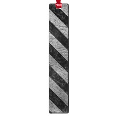 Stripes3 Black Marble & Gray Leather (r) Large Book Marks