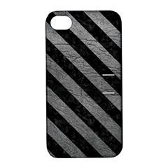 Stripes3 Black Marble & Gray Leather (r) Apple Iphone 4/4s Hardshell Case With Stand