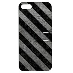 Stripes3 Black Marble & Gray Leather (r) Apple Iphone 5 Hardshell Case With Stand