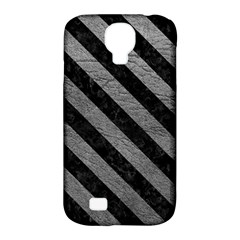 Stripes3 Black Marble & Gray Leather (r) Samsung Galaxy S4 Classic Hardshell Case (pc+silicone)