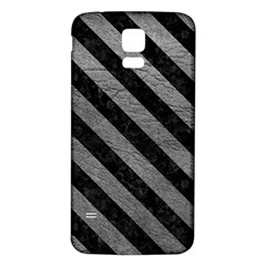 Stripes3 Black Marble & Gray Leather (r) Samsung Galaxy S5 Back Case (white)