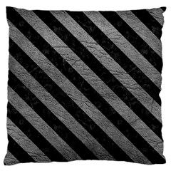 Stripes3 Black Marble & Gray Leather (r) Standard Flano Cushion Case (one Side)