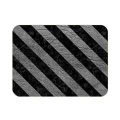 Stripes3 Black Marble & Gray Leather (r) Double Sided Flano Blanket (mini)