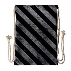 Stripes3 Black Marble & Gray Leather (r) Drawstring Bag (large)