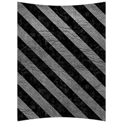 Stripes3 Black Marble & Gray Leather (r) Back Support Cushion
