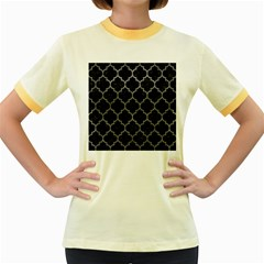 Tile1 Black Marble & Gray Leathertile1 Black Marble & Gray Leather Women s Fitted Ringer T Shirts