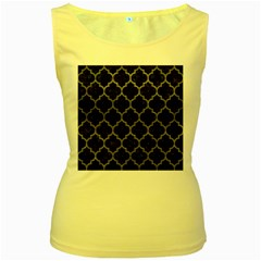 Tile1 Black Marble & Gray Leathertile1 Black Marble & Gray Leather Women s Yellow Tank Top
