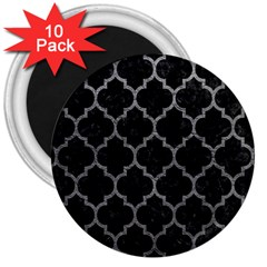 Tile1 Black Marble & Gray Leathertile1 Black Marble & Gray Leather 3  Magnets (10 Pack)