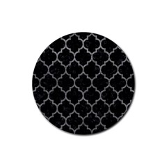Tile1 Black Marble & Gray Leathertile1 Black Marble & Gray Leather Rubber Coaster (round)