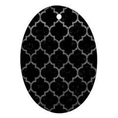Tile1 Black Marble & Gray Leathertile1 Black Marble & Gray Leather Oval Ornament (two Sides)