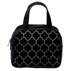 Tile1 Black Marble & Gray Leathertile1 Black Marble & Gray Leather Classic Handbags (one Side)