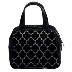 Tile1 Black Marble & Gray Leathertile1 Black Marble & Gray Leather Classic Handbags (2 Sides)