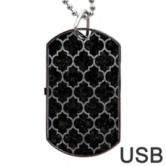 Tile1 Black Marble & Gray Leathertile1 Black Marble & Gray Leather Dog Tag Usb Flash (one Side)