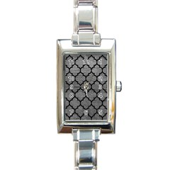Tile1 Black Marble & Gray Leather (r) Rectangle Italian Charm Watch