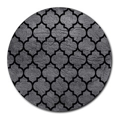 Tile1 Black Marble & Gray Leather (r) Round Mousepads