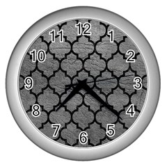 Tile1 Black Marble & Gray Leather (r) Wall Clocks (silver)