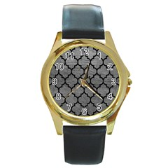 Tile1 Black Marble & Gray Leather (r) Round Gold Metal Watch