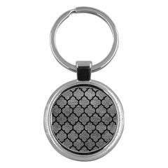 Tile1 Black Marble & Gray Leather (r) Key Chains (round)