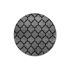 Tile1 Black Marble & Gray Leather (r) Magnet 3  (round)