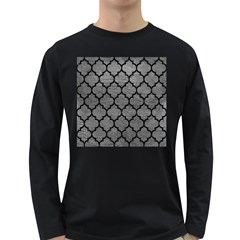 Tile1 Black Marble & Gray Leather (r) Long Sleeve Dark T Shirts
