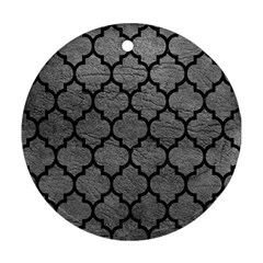 Tile1 Black Marble & Gray Leather (r) Round Ornament (two Sides)