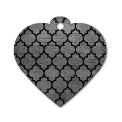 Tile1 Black Marble & Gray Leather (r) Dog Tag Heart (two Sides)