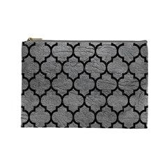 Tile1 Black Marble & Gray Leather (r) Cosmetic Bag (large)