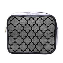 Tile1 Black Marble & Gray Leather (r) Mini Toiletries Bags
