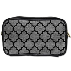 Tile1 Black Marble & Gray Leather (r) Toiletries Bags 2 Side