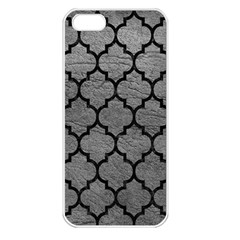 Tile1 Black Marble & Gray Leather (r) Apple Iphone 5 Seamless Case (white)