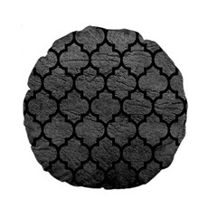 Tile1 Black Marble & Gray Leather (r) Standard 15  Premium Round Cushions