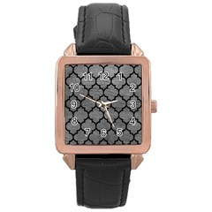 Tile1 Black Marble & Gray Leather (r) Rose Gold Leather Watch