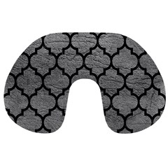 Tile1 Black Marble & Gray Leather (r) Travel Neck Pillows