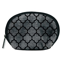 Tile1 Black Marble & Gray Leather (r) Accessory Pouches (medium)