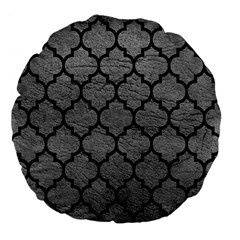 Tile1 Black Marble & Gray Leather (r) Large 18  Premium Flano Round Cushions
